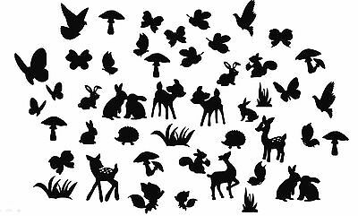 Die Cut Outs Silhouette woodland Creatures Shapes x 60 toppers fairy jar,