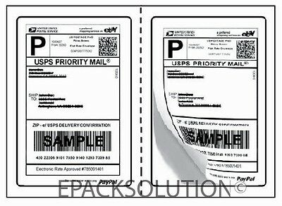 200 PERFORATED 5.125 x 7.5 SELF ADHESIVE SHIPPING LABELS 2/SHEET