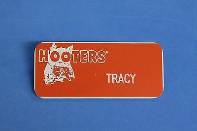 Hooters Restaurant Girl Tracy Orange Name Tag W/ White Letters (Pin)