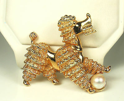FAB! Signed MARCEL BOUCHER Gold Plated POODLE Pin~CULTURED PEARL Ball~#6486~EX!!