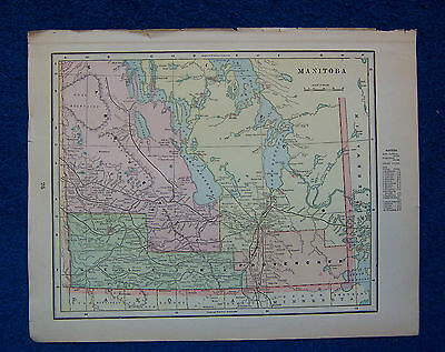 Original 1901 Crams Maps of Manitoba, USA, and North West Territories, Canada.