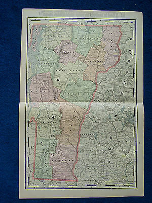 Original 1901 Crams Maps of Vermont, Cities of Lowell & Lynn, Massachusetts USA.