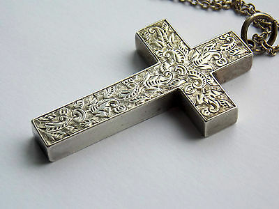 Antique Victorian silver cross repousse with leaf design & sterling chain Gothic