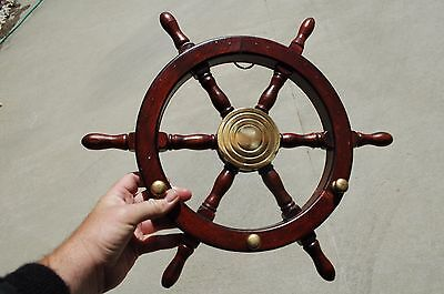 "16"" Ships Wheel ~ Wood / Brass ~ Nautical Maritime Decor ~ Pirate Captain"