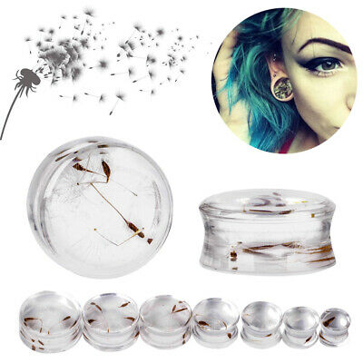 1Pair Dandelion Flesh Tunnels Resin Puff Ear Plugs Transparent Gauges Piercings