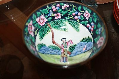 """Vintage  Hand Painted Metal 5"""" rice Bowl Made in China painted on bottom flower"""