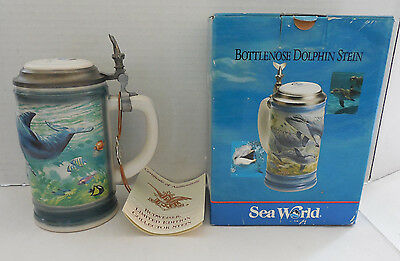 NIB Sea World Bottlenose Dolphin Stein Limited Edition Collector Series