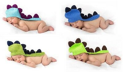 Bulk lot of 30 Crochet Cotton Dinosaur Baby Beanies Sizes newborn small
