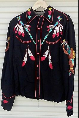 RARE! AMAZING! 1950s Black and Red NUDIE GABARDINE WESTERN SHIRT- INDIAN CHIEF
