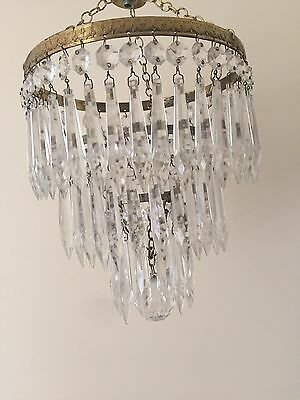 Vintage 3 Tier Waterfall Brass And Glass Chandelier
