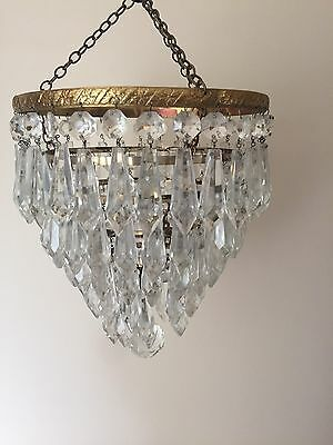 Vintage 5 Tier Waterfall Brass And Glass Chandelier