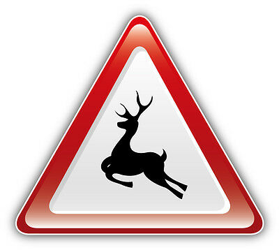 Deer Warning Sign Car Bumper Sticker Decal 5'' x 4''