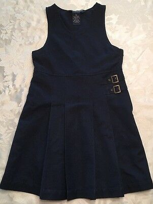 School French Toast Navy Blue Uniform Girls Size 6/6X EUC Double Buckle Jumper