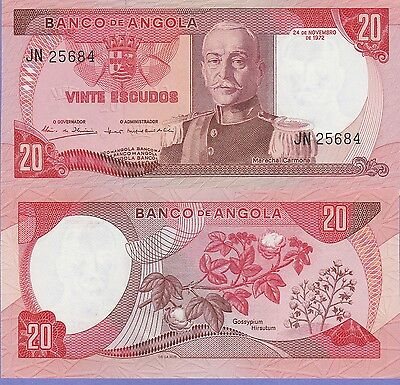 Angola-Portuguese, 20 Escudos Banknote,1972 Uncirculated Condition Cat#99-5684