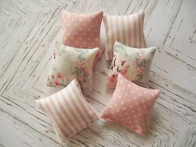 Dolls House Miniature 1:12 Scale furniture set pink cream cushions set 6 pack