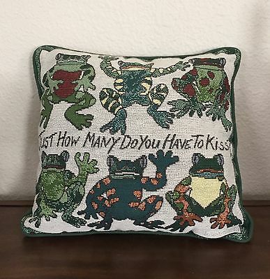 FROGS Pillow JUST How Many Do You Have to Kiss? 12x12 Home Decor Whimsical CUTE!