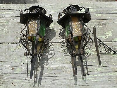 RARE Antique Spanish Revival Medieval Gothic Arts Crafts Sconces Light FIXTURES