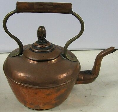 Antique Primitive Copper & Brass Tea Pot