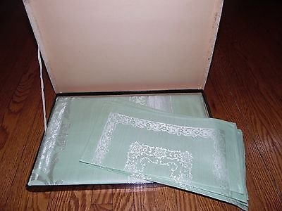 Vintage New Combed Yarns Imported Green Damask Set Tablecloth 6Pc Napkins W/ Box