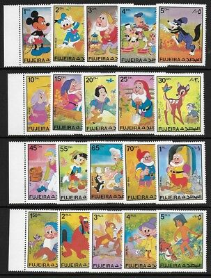 UAE | Fujeira 1972 Walt Disney Cartoon Characters Full Set of 20 VF-NH