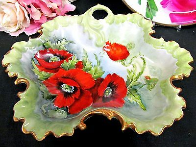 German Painted Bowl Nice Poppy Painted Pattern Germany Bowl Scalloped