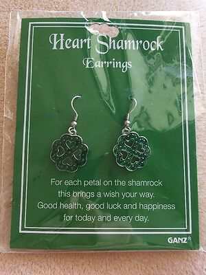 Ganz Heart Shamrock Earrings NIP
