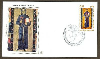 Vatican City Sc# 1452, 8th Centenary of the Franciscan Rule, First Day Cover