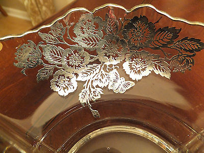Vintage Bowl w/ Sterling Silver Overlay of Flowers and butterflies
