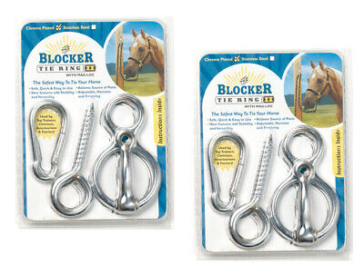 2 x Blocker Tie Ring II Chrome with Mag Lock Loc Horse Saftey cross Tie up