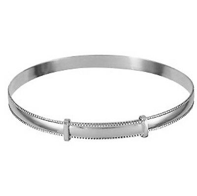 Solid Sterling Silver Expanding Plain Baby Bangle With Engraved Rope Edge