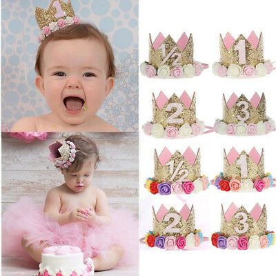 Birthday Decor  Flower Party Crown  Gold Number Birthday Hat Hair Accessory