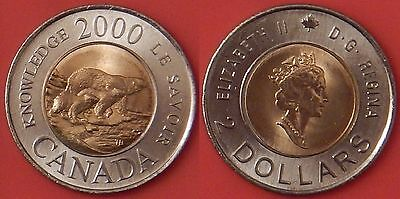 Brilliant Uncirculated 2000 Canada Knowledge 2 Dollars From Mint's Roll