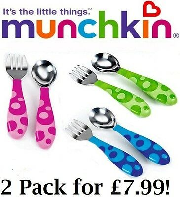 Munchkin Toddler Fork And Spoon Cutlery Set Curved Handles Pink, Blue, or Green