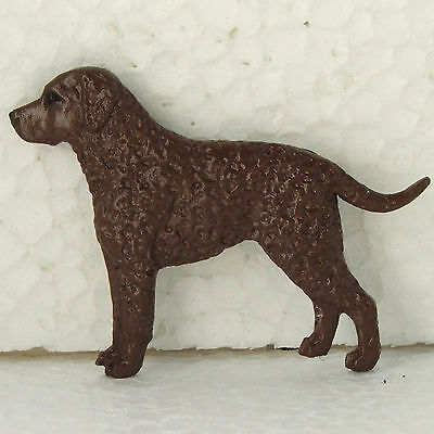 Curly Coated Retriever Liver  Brooch Dog Breed Jewellery Handpainted Resin