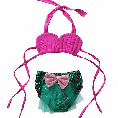 USA Kids Baby Girls Little Mermaid Swimwear Costume Bikini Set Bathing Suit 2PCS