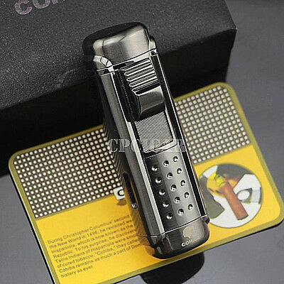 COHIBA 4 Red Torch Jet Fire Windproof Cigar Cigarette Lighter with Cigar Puncher
