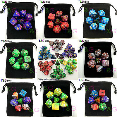 Dice Set Chessex Black Polyhedral Die D 16mm White Rpg Chx Gold 10 W Sided New