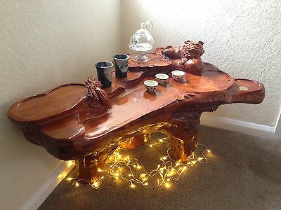 Gongfu/Kung Fu Carved Tree Root Chinese Tea Ceremony Table Rare Find Furniture