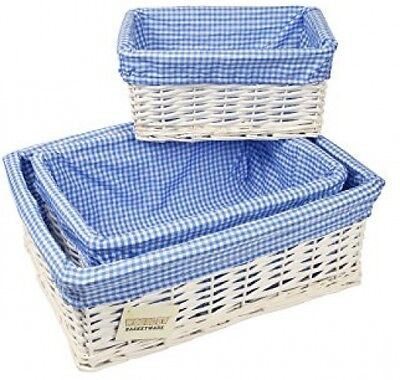 WoodLuv White Wicker Storage Basket With Blue Gingham Lining, Set Of 3