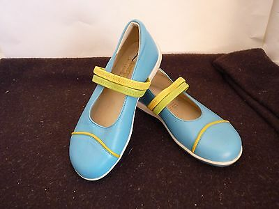 Andos Villena Leather Kids Shoes Size 29 Made In Spain Blue/Yellow  New