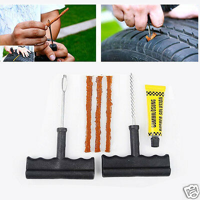 6 in 1 Car Tubeless Tire Tyre Puncture Plug Repair Tools Kits Cement Set New