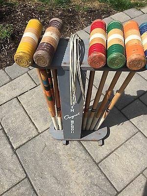 Vintage 6 Person South Bend Croquet Set with Old Paint Complete Wood Balls