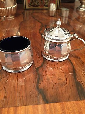 Mappin & Webb Sterling Silver Mustard Pot and Salt ( both with liners)