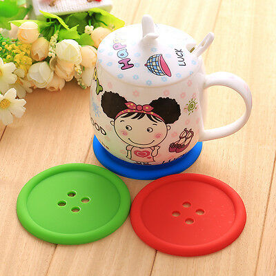 5pcs Cute Silicone Button Coaster Mug Cup Cushion Holder Drink Placemat Mat Pad