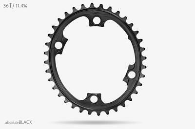 AbsoluteBlack Oval Chainring for Shimano 9000, 6800, 5800 | 36T | Black