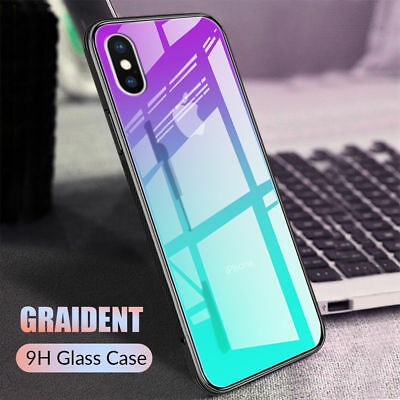 Case For iPhone XS MAX Gradient Tempered Glass Back New Shockproof Hybrid Cover