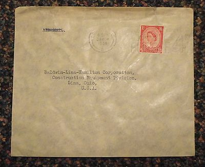 1954 London England cover to Lima Ohio - perfin CGSA