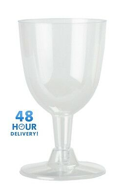 144 x 175ml / 6oz Disposable Plastic Wine Glasses 2pcs Party Toasting Clear Base