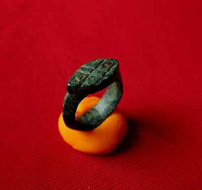 Ancient Celtic bronze ring - SNAKE EYES . circa first century BC.