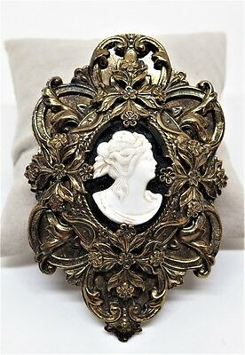 """Large Ornate Gold-Plated Repousse Black Jet & White Cameo Dress Clip, 3 1/2"""""""